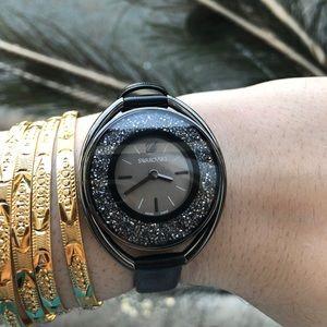 Swarovski Black Leather Crystal Watch